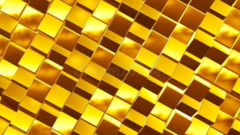 Fundo dourado do negócio do sumário 3d feito de caixas metálicas ilustração do vetor