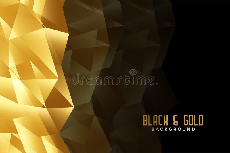 Fundo dourado do sumário baixo e preto poli ilustração royalty free