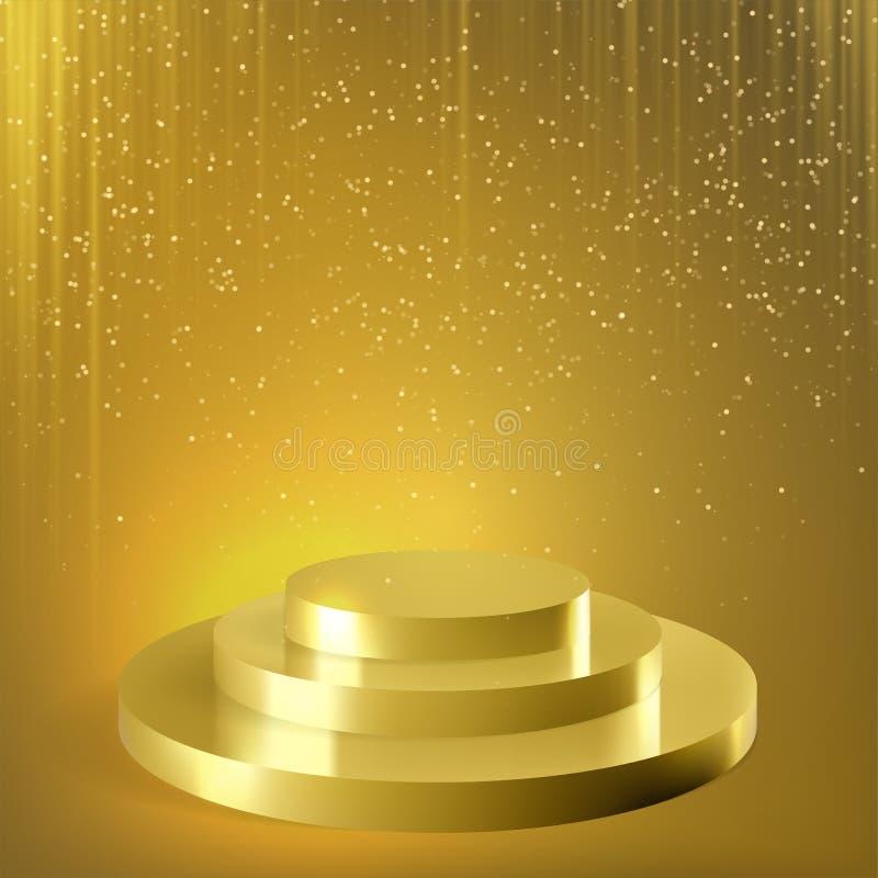 Fundo dourado do vetor dos confetes do brilho do pódio ilustração stock