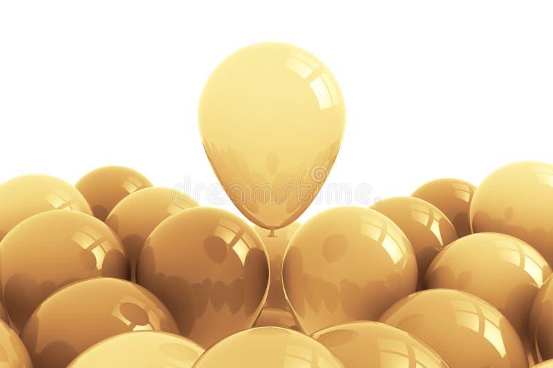 Fundo dourado dos balões ilustração stock