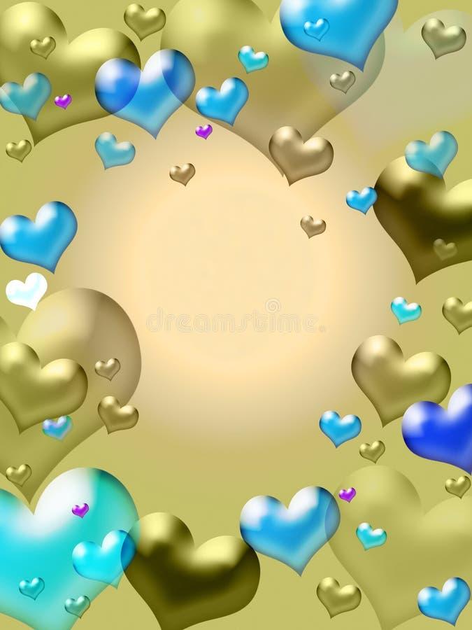 Fundo dourado dos corações ilustração do vetor