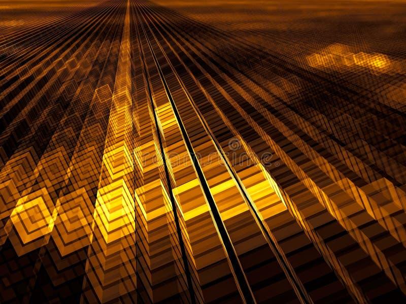 Fundo dourado dos cubos - ilustração 3d gerada por computador abstrata Arte de Digitas: a maneira consiste em tijolos amarelos Co imagens de stock