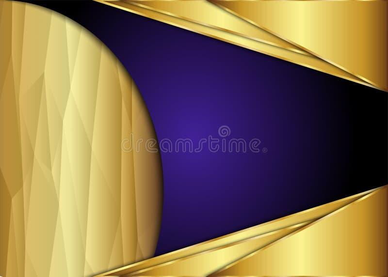Fundo dourado e escuro do vintage com polígono ilustração royalty free