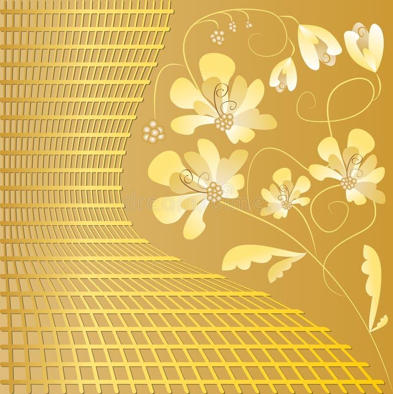Fundo dourado luxuoso com motivo floral no estilo do art deco ilustração royalty free