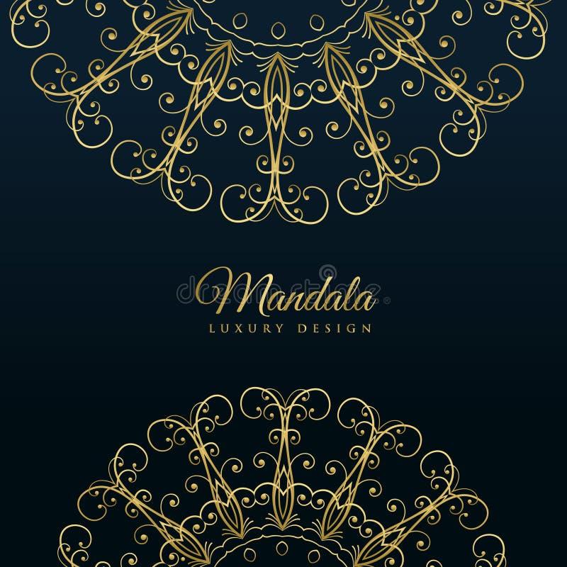 Fundo dourado luxuoso decorativo da mandala ilustração stock