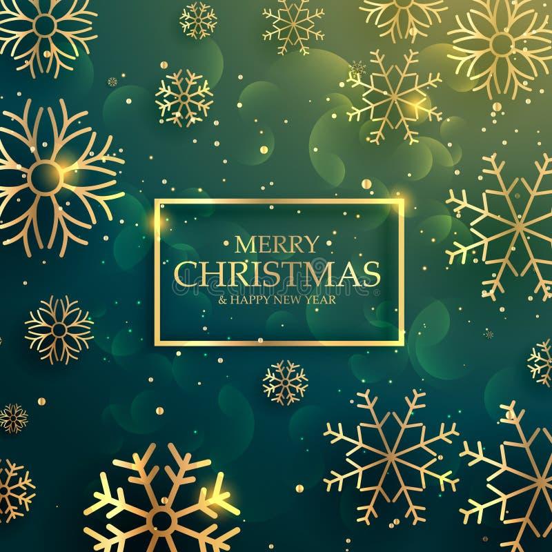 fundo dourado superior bonito dos flocos de neve para o christm alegre ilustração stock