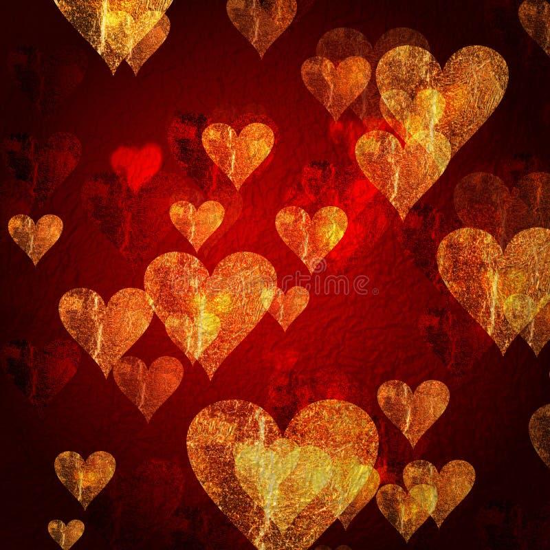 Fundo dourado vermelho dos corações ilustração stock