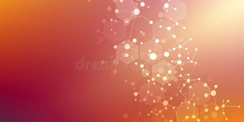 Fundo e comunicação da estrutura molecular Fundo abstrato com ADN da molécula Médico, ciência e digital ilustração do vetor