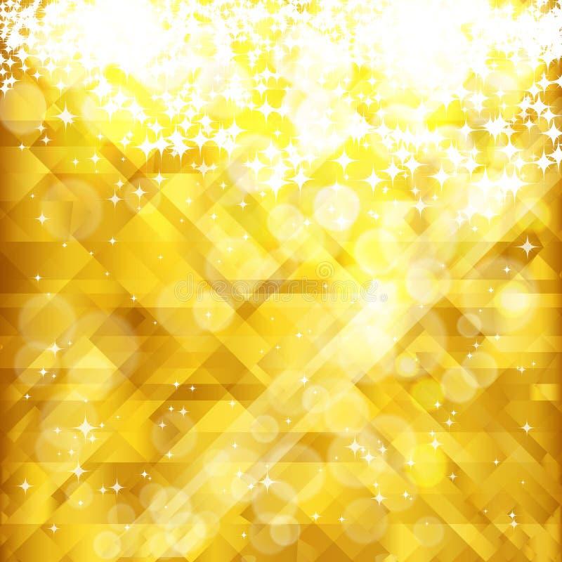Fundo e lugar dourados das estrelas para seu texto. ilustração do vetor