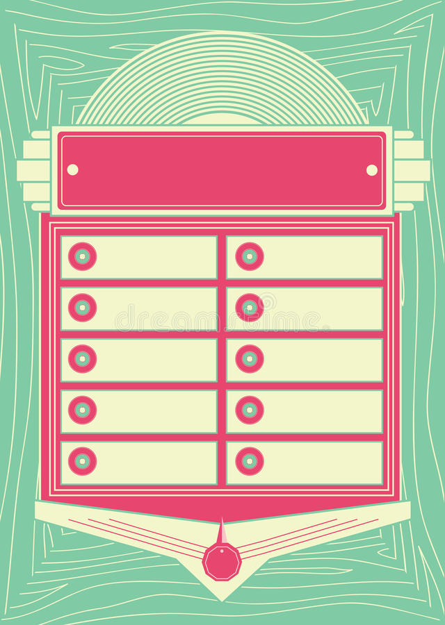 fundo e quadro do jukebox do estilo dos anos 50 ilustração stock
