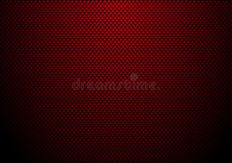 Fundo e textura vermelhos da fibra do carbono com iluminação Papel de parede material para o ajustamento ou o serviço do carro ilustração royalty free