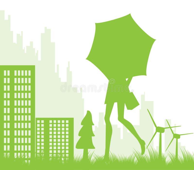 Fundo ecológico da paisagem da cidade ilustração stock