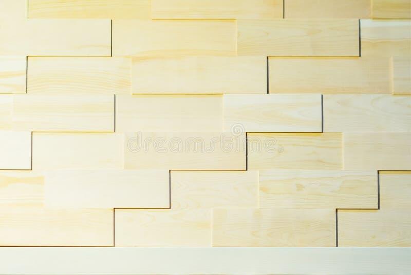 Fundo ecológico da parede de madeira da prancha para o projeto e a decoração, cor natutal clara Geomethrical decorativo fotos de stock royalty free