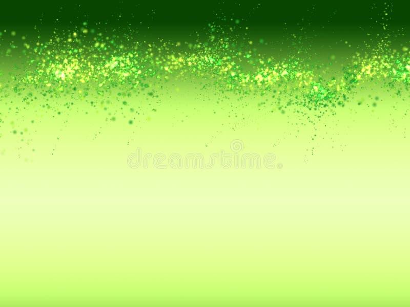 Fundo efervescente verde do bio eco fresco do sumário com muitas bolhas claras blured em um inclinação liso ilustração stock
