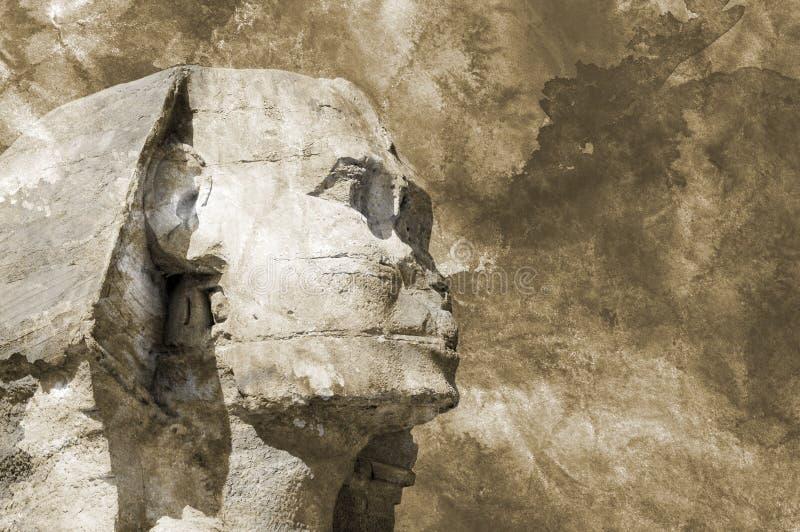 Fundo egípcio do grunge do aquarelle da esfinge principal fotografia de stock