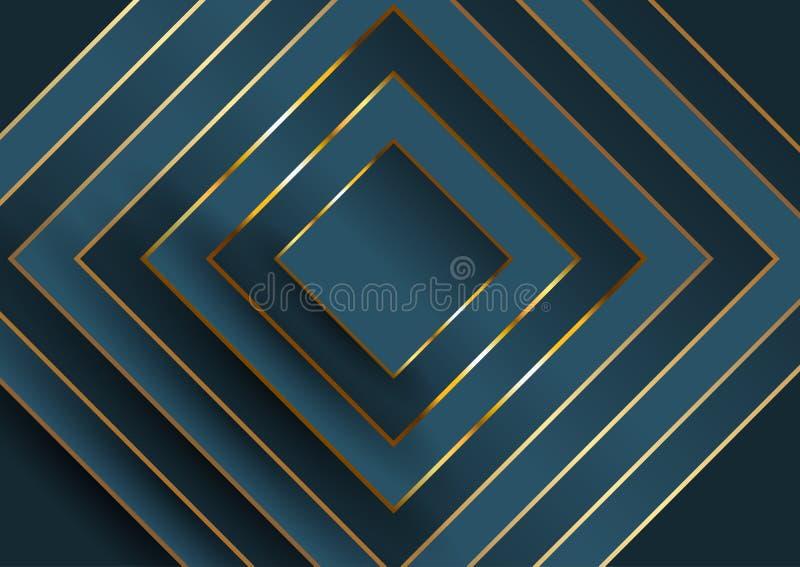 Fundo elegante abstrato com projeto quadrado no azul e no ouro ilustração do vetor
