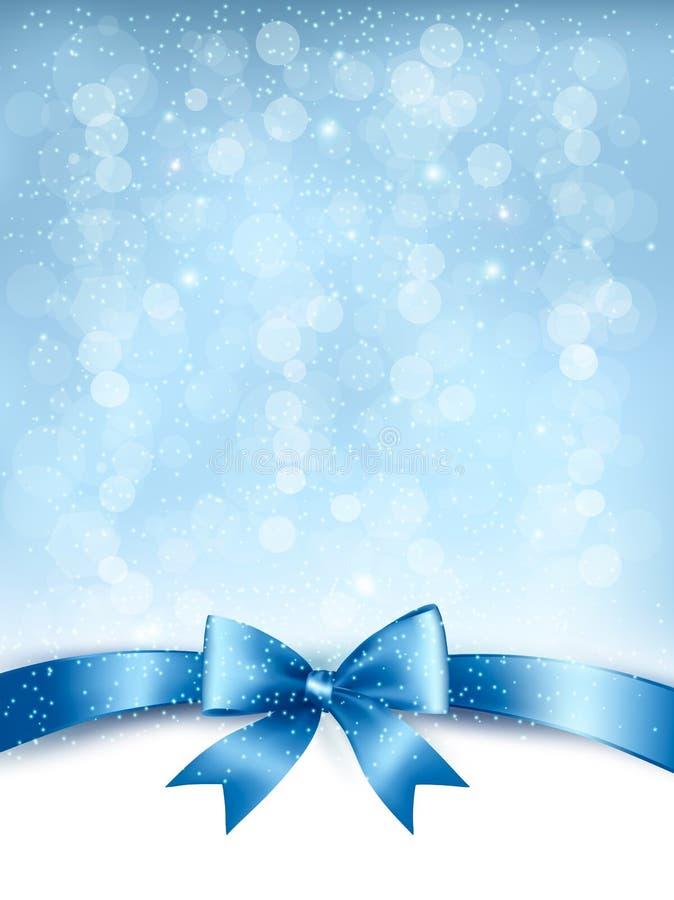 Fundo elegante azul do feriado com curva e fita do presente ilustração stock