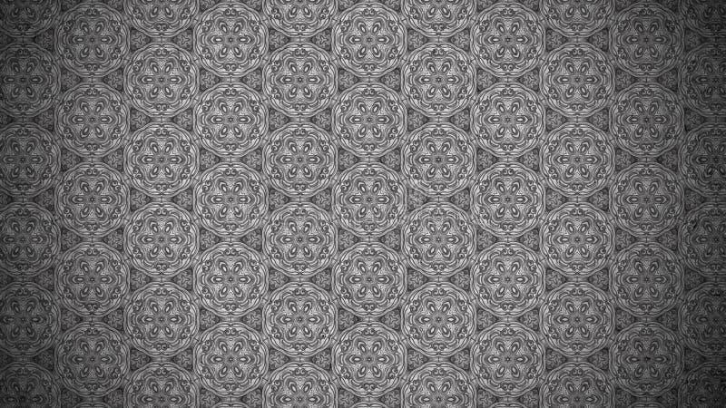 Fundo elegante bonito do projeto da arte gráfica da ilustração do papel de parede escuro de Gray Vintage Decorative Floral Patter ilustração royalty free