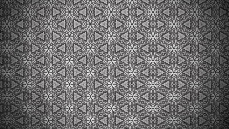 Fundo elegante bonito escuro do projeto da arte gráfica da ilustração de Gray Vintage Floral Wallpaper Background ilustração royalty free