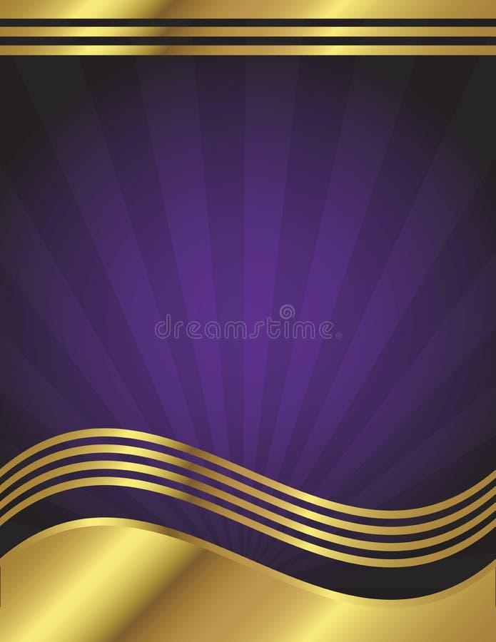 Fundo elegante do roxo e do ouro ilustração royalty free