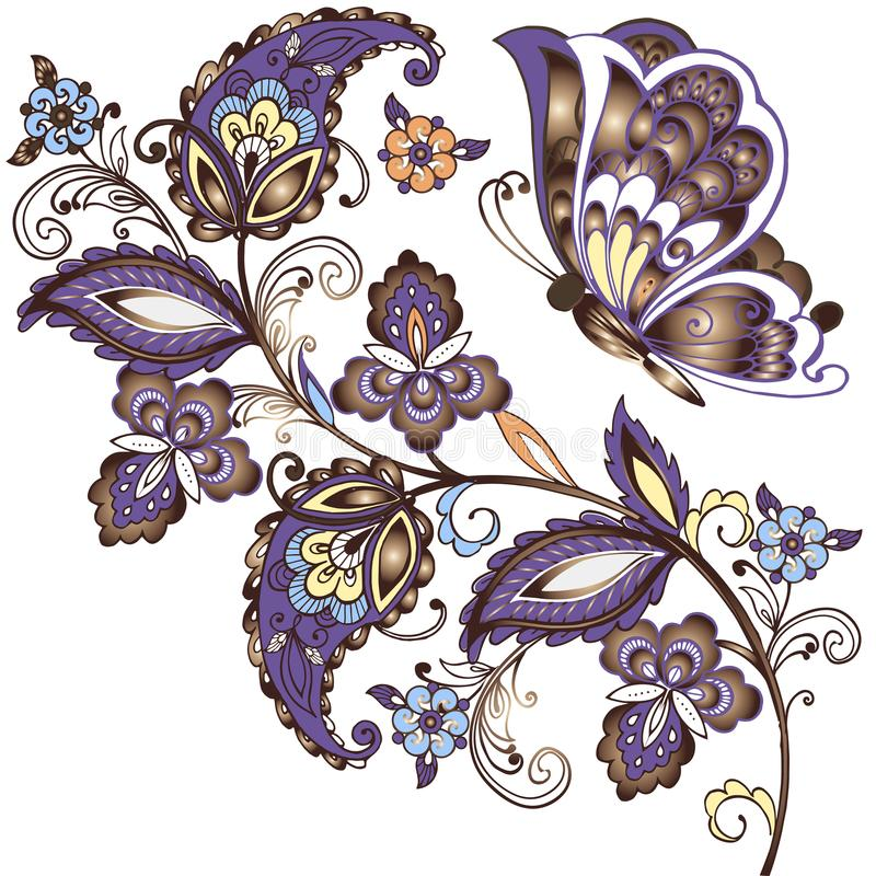 Fundo elegante do vetor com borboletas e o ornamento oriental Ornamento floral paisley do ouro ilustração royalty free