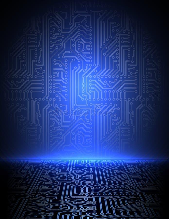 Fundo eletrônico azul do vetor. eps10 ilustração stock