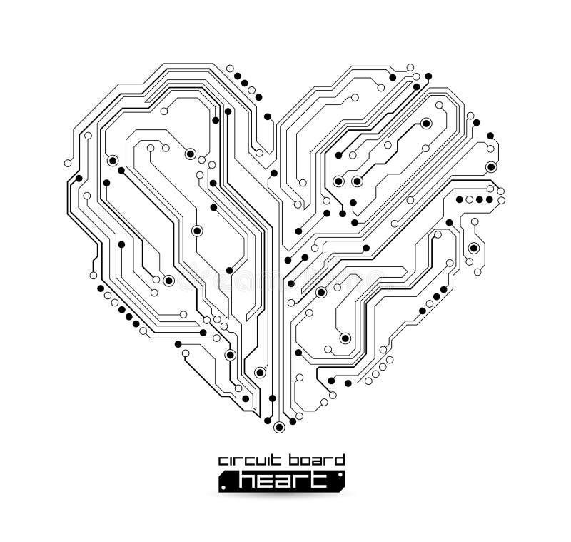 Fundo eletrônico da tecnologia do coração ilustração stock