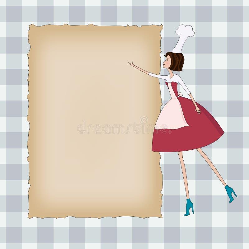 Fundo em branco com um cozinheiro chefe ilustração royalty free