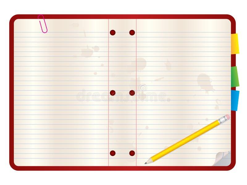 Fundo em branco do caderno ilustração do vetor
