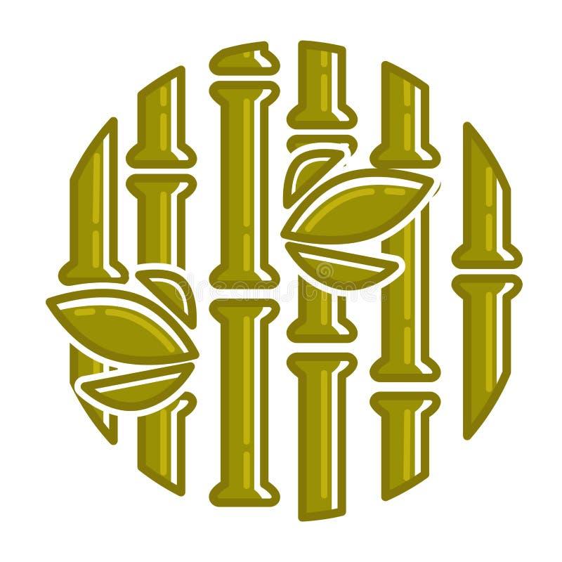 Fundo em folha de palmeira tropical do vetor de bambu do teste padrão ilustração stock