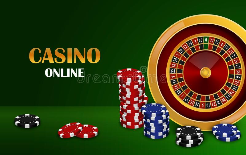 Fundo em linha do conceito do casino, estilo realístico ilustração stock