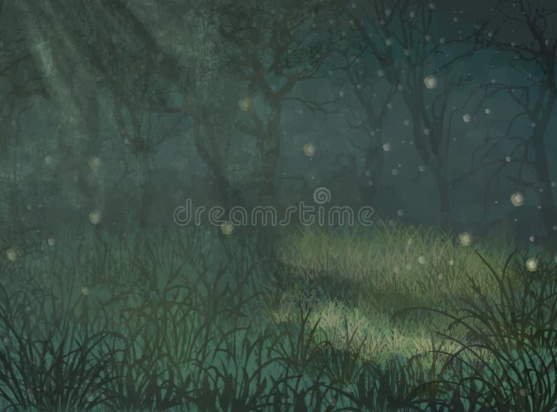 Fundo encantado do espaço da cópia da floresta Fundo encantado do espaço da cópia da floresta para o texto Ilustração da floresta ilustração stock