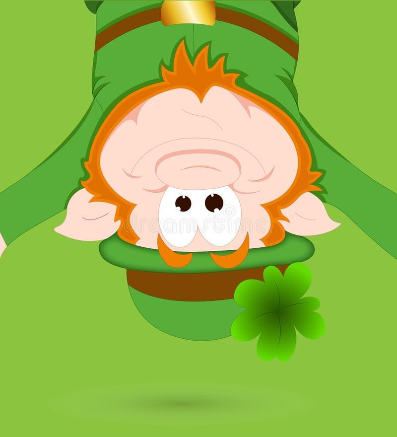 Fundo engraçado do verde do Leprechaun ilustração stock