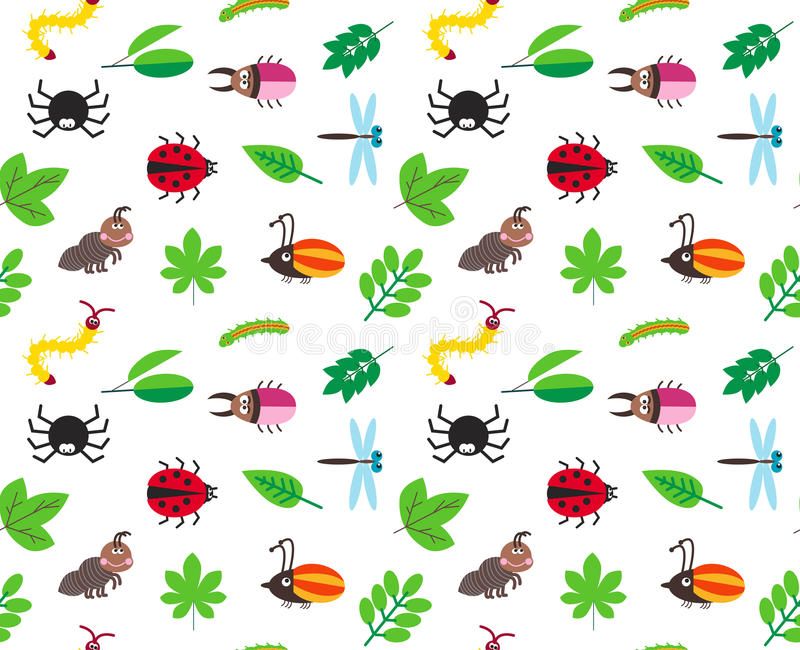 Fundo engraçado do vetor dos insetos e das folhas dos desenhos animados ilustração stock