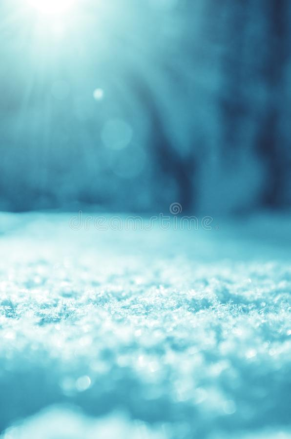 Fundo ensolarado do Natal do inverno com monte de neve em um primeiro plano e paisagem borrada da floresta em um fundo imagens de stock royalty free