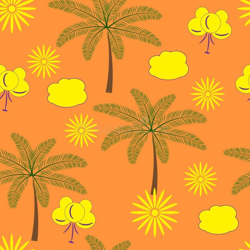 Fundo ensolarado sem emenda com palmeiras ilustração do vetor