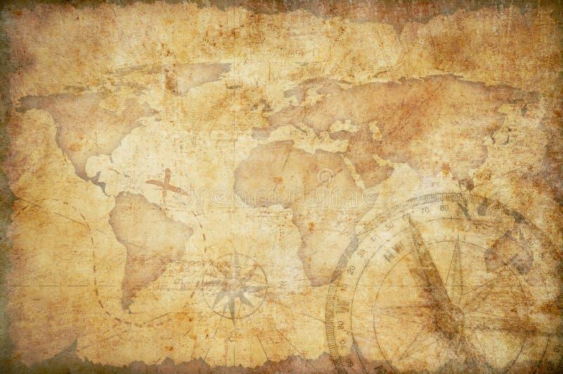 Fundo envelhecido do mapa do tesouro ilustração do vetor