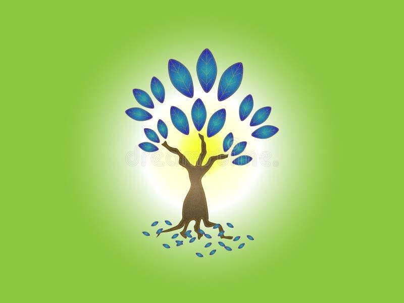 Fundo erval criativo do logotipo da árvore de pano da sarja de Nimes ilustração stock