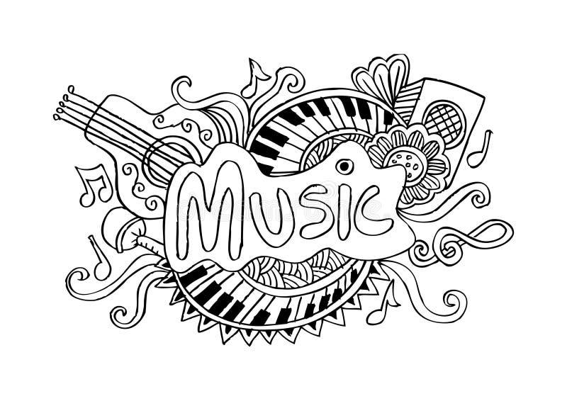 Fundo esboçado da música ilustração do vetor