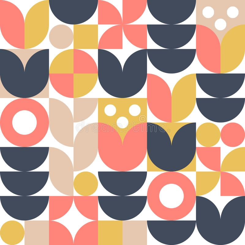 Fundo escandinavo abstrato da flor Ilustração geométrica moderna no estilo nórdico retro ilustração do vetor