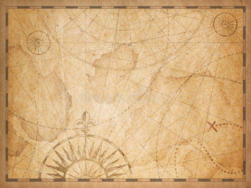 Fundo escondido náutico velho do mapa do tesouro ilustração stock