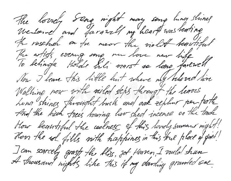 Fundo escrito à mão da textura da caligrafia da escrita da letra ilustração stock