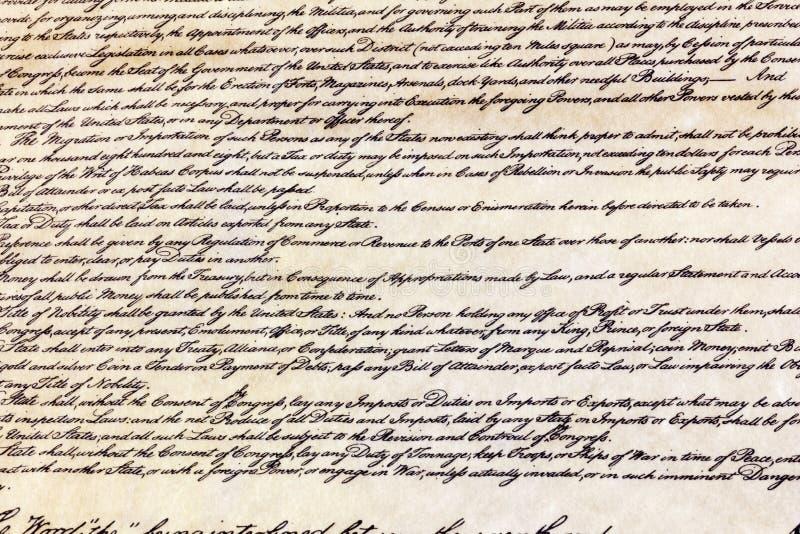 Fundo escrito história de América do Estados Unidos da constituição foto de stock