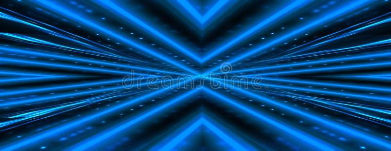 Fundo escuro abstrato com parede de tijolo e luz de néon Raios azuis de néon imagens de stock
