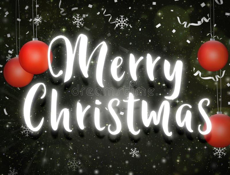 Fundo escuro claro de néon das estrelas do céu noturno do texto do Feliz Natal imagens de stock royalty free