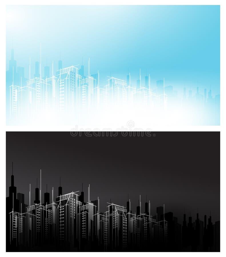 Fundo escuro claro preto branco do raspador do céu do scape do horizonte da cidade do dia moderno da noite do vetor Construção ar ilustração do vetor