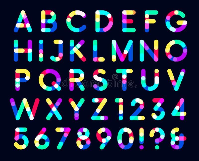 Fundo escuro colorido da fonte das folhas de prova somente um letras principais do ponto ilustração do vetor