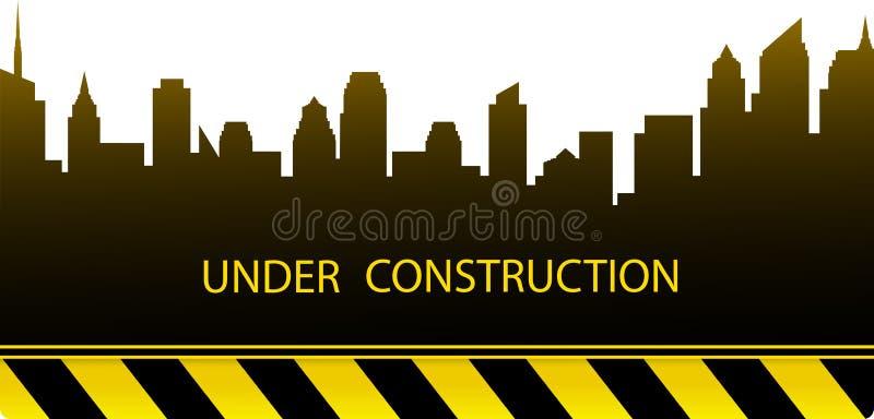Fundo da construção com silhueta da cidade ilustração royalty free