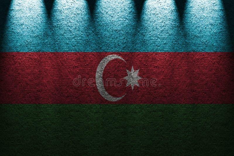 Fundo escuro das luzes da parede cinco com mistura da bandeira de Azerbaijão imagem de stock
