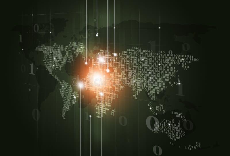 Fundo escuro de Digitas do mapa do código binário ilustração do vetor